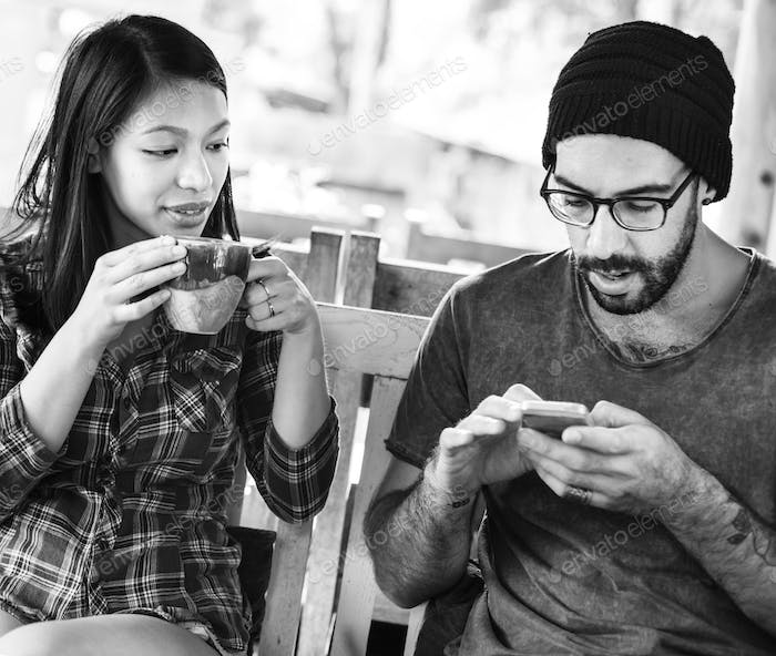 Couple Drinking Coffee Vacation Together Concept