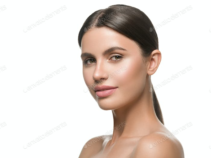 Beauty face woman healthy skin brunette hair beautiful face closeup portrait isolated on white