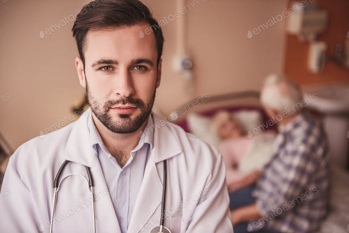 Handsome serious doctor