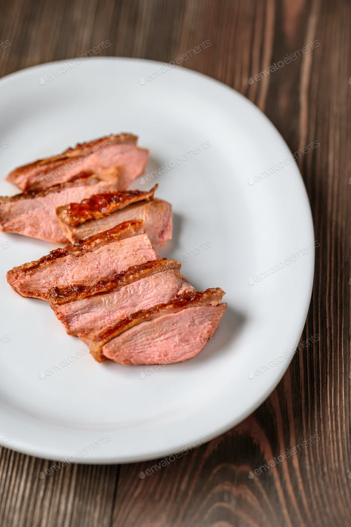 Slices of duck breast