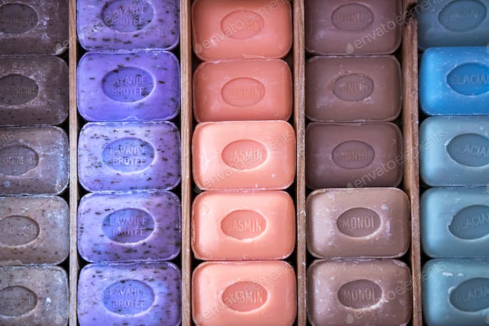 Rows of colorful Marseille soap