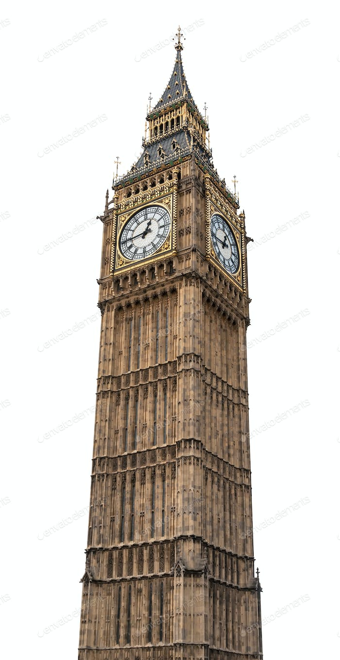 Big Ben in London on white background