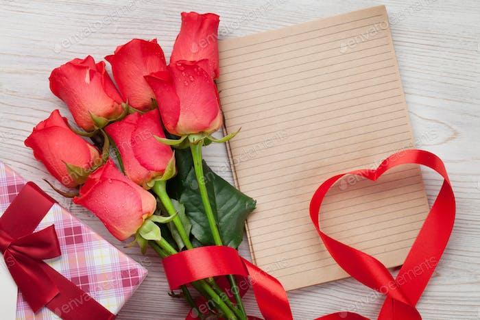 Valentinstag Grußkarte mit roten Rosen