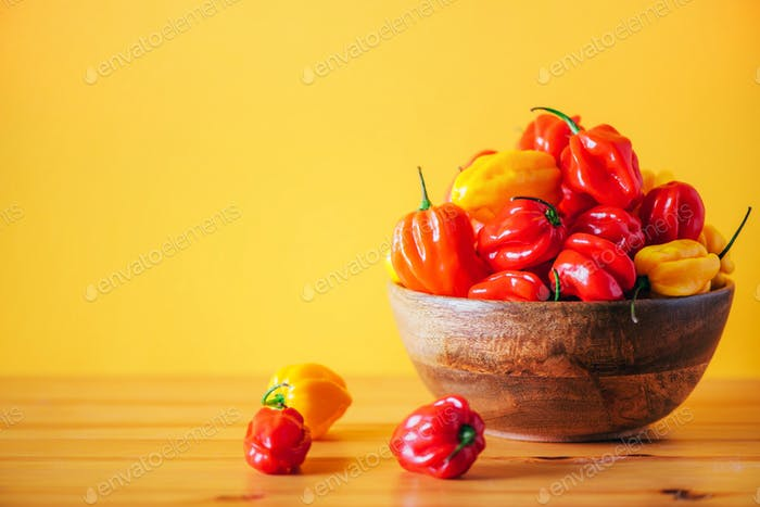 Yellow and red scotch bonnet chili peppers in wooden bowl over orange background. Copy space