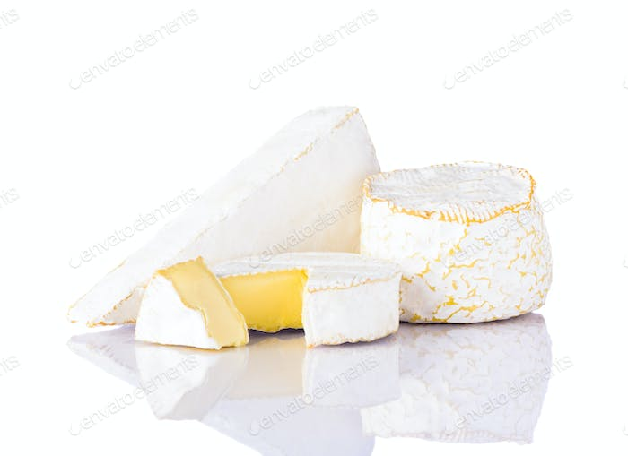 Camembert and Brie Cheese on White Background