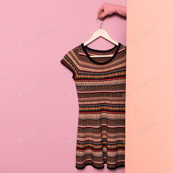 Stylish clothes. Knitted dress ornament print. wardrobe ideas tr