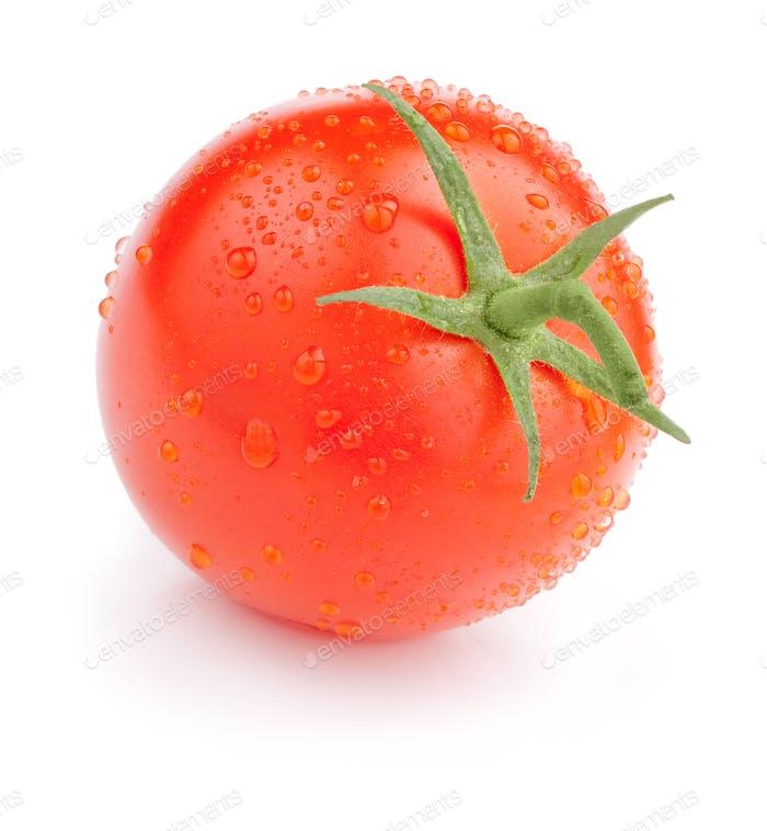 Single Saftige Tomate mit Tropfen Isoliert auf weißem Hintergrund