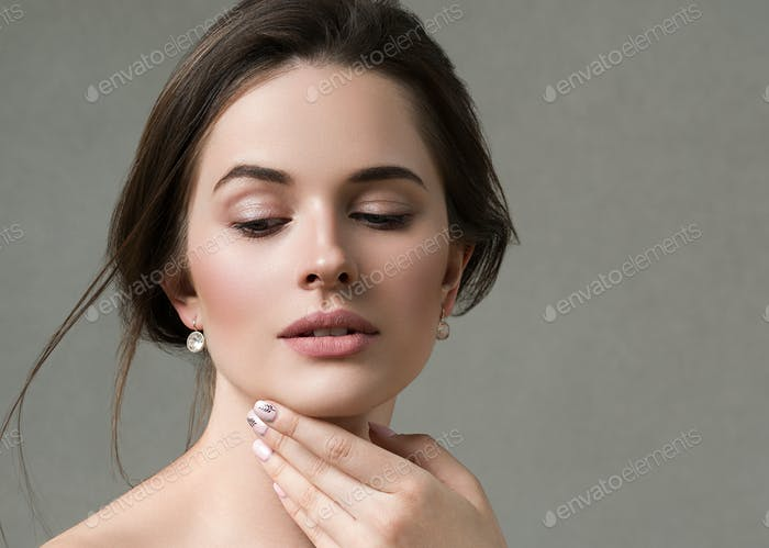 Beautiful woman portrait beauty hair and skin makeup young model