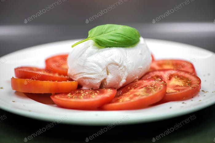 Fresh Italian Caprese salad on a plate