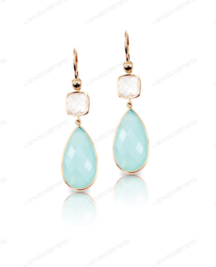 Blue crystal cushion cut quartz and topaz drop earrings