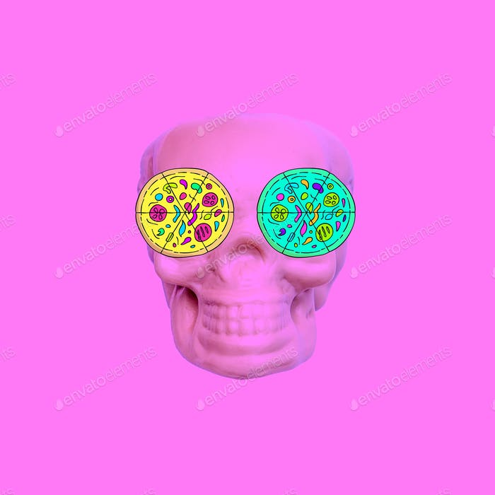 Contemporary art collage. Pizza lover skull. Fast food minimal p