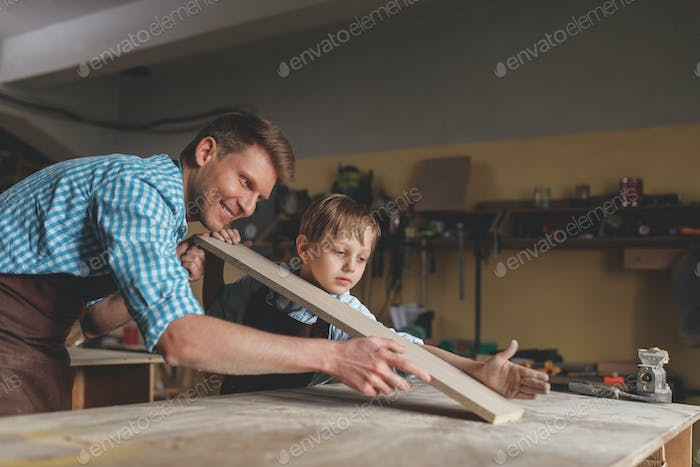 Parent and child at work