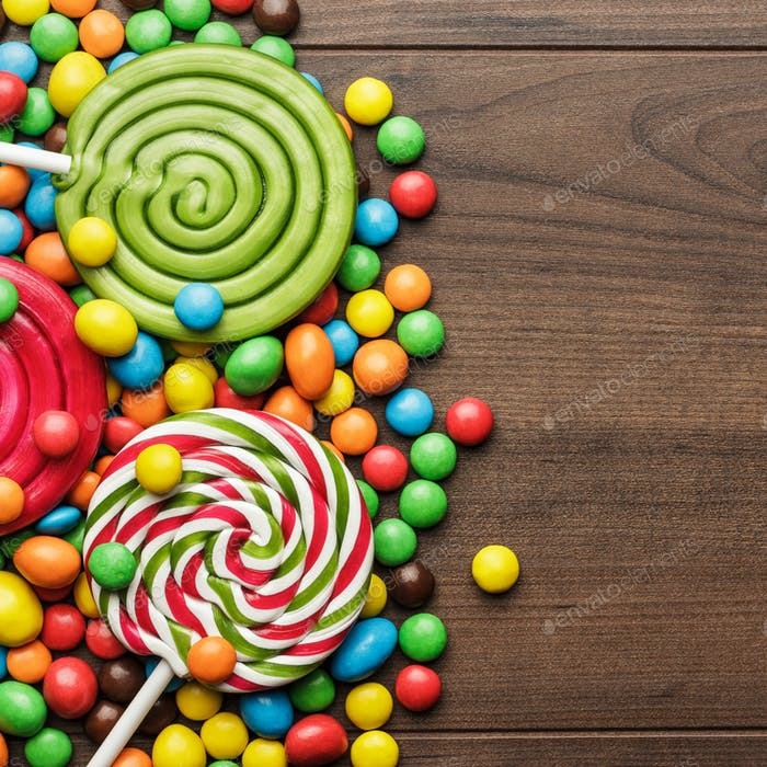 Different Colorful Sweets And Lollipops