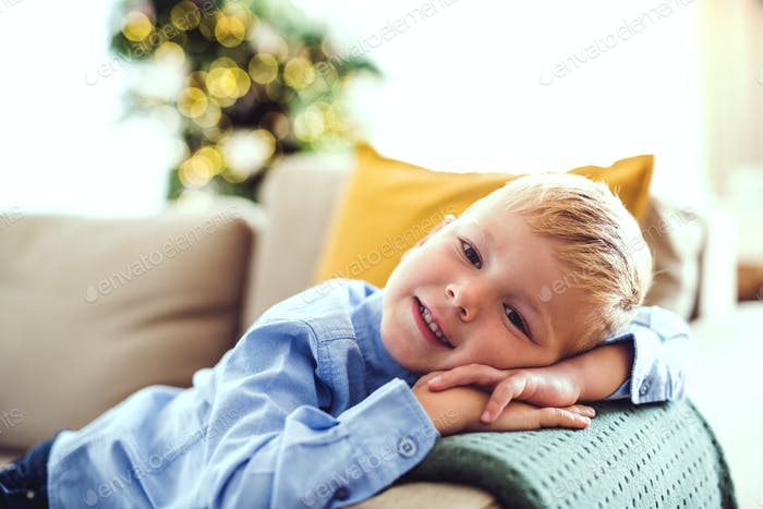 A small boy lying on a sofa at home at Christmas time.