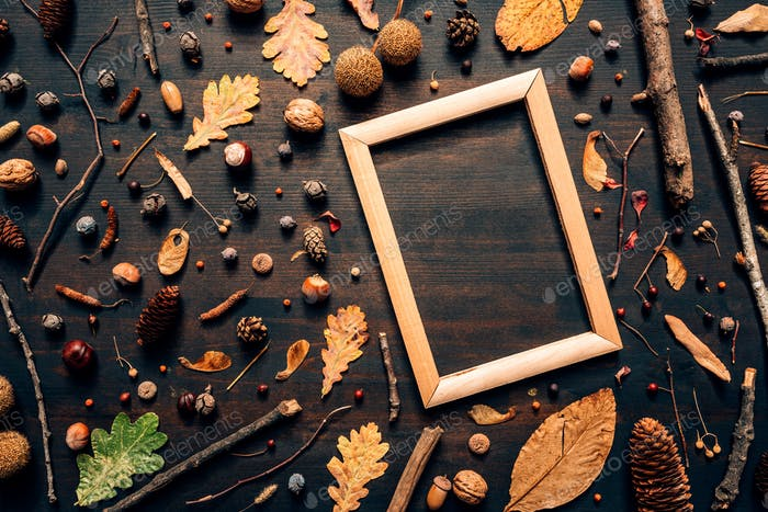Empty wooden picture frame mock up with autumn season decoration