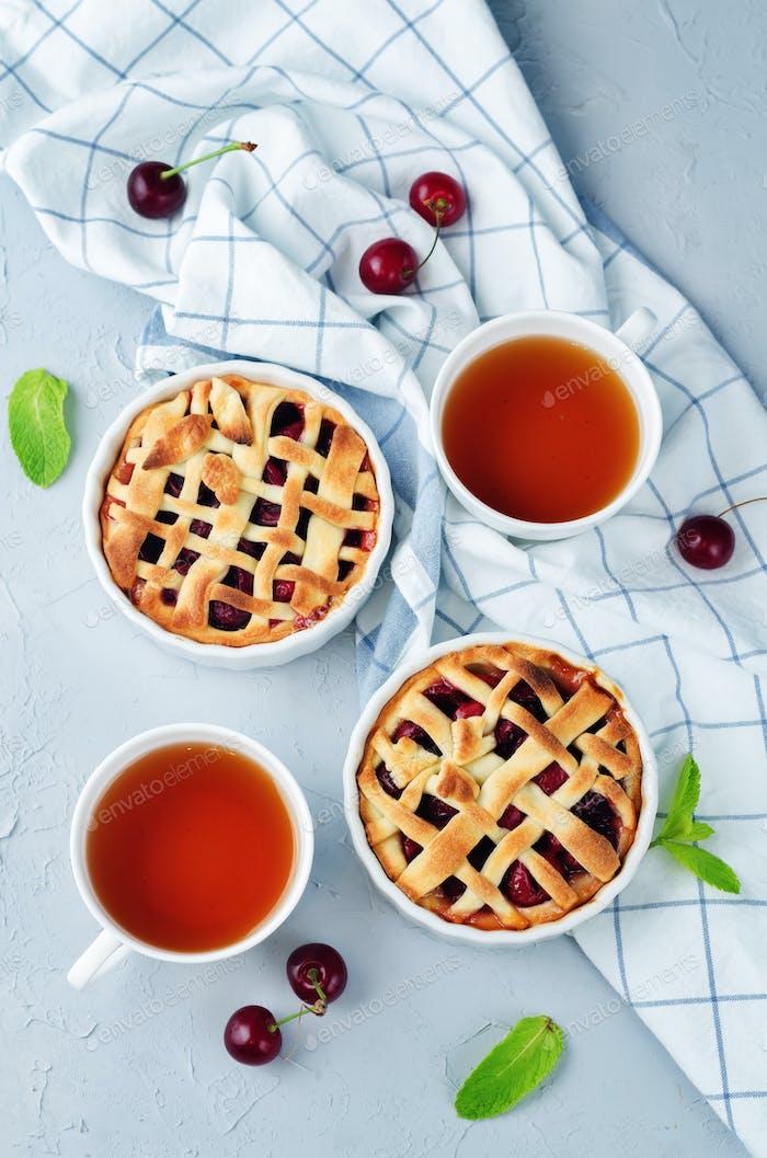 Cherry pies with fresh cherries