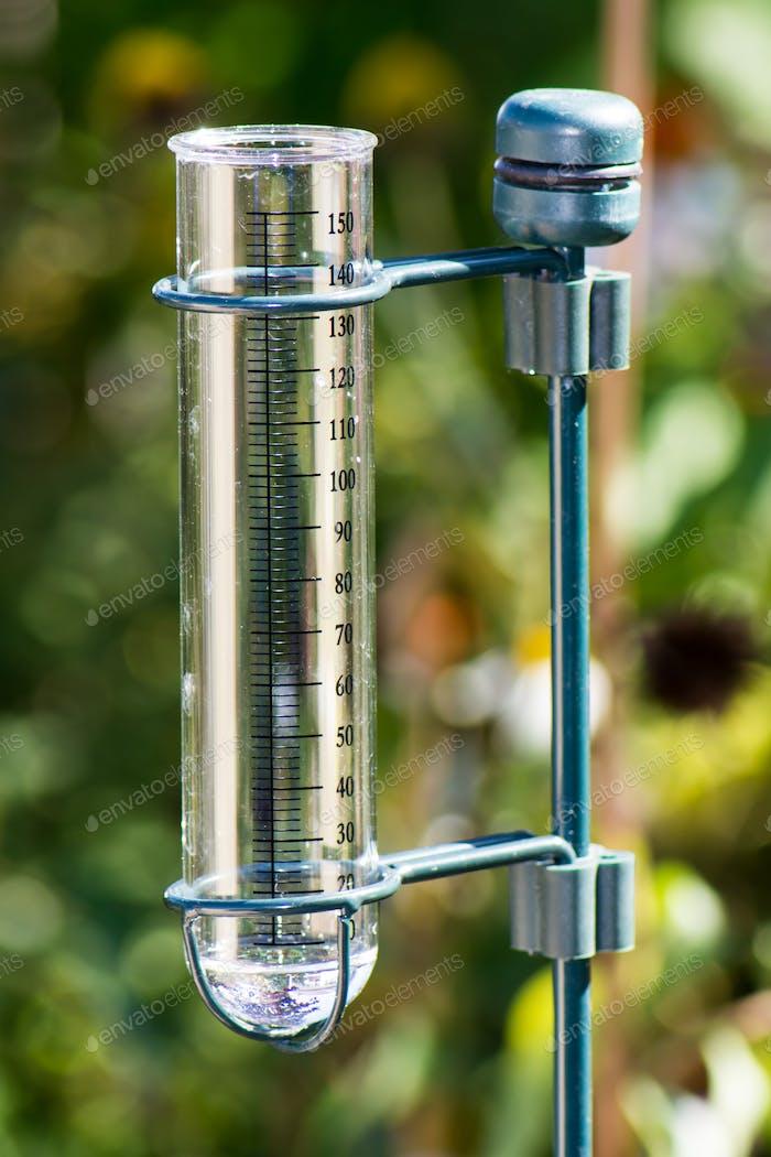 Rain gauge in the garden