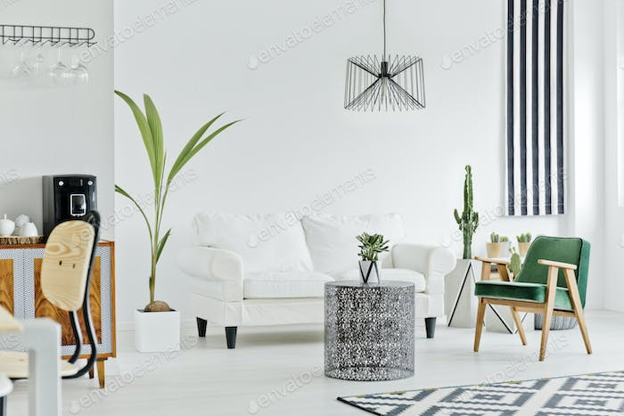 Multifunctional interior with white sofa
