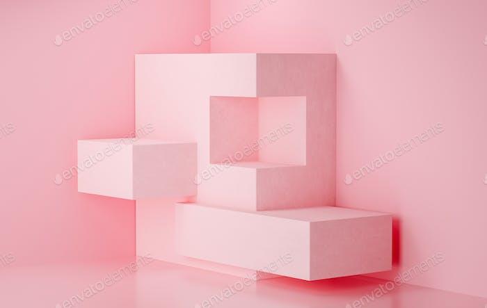 3d rendering stage display background, pink color