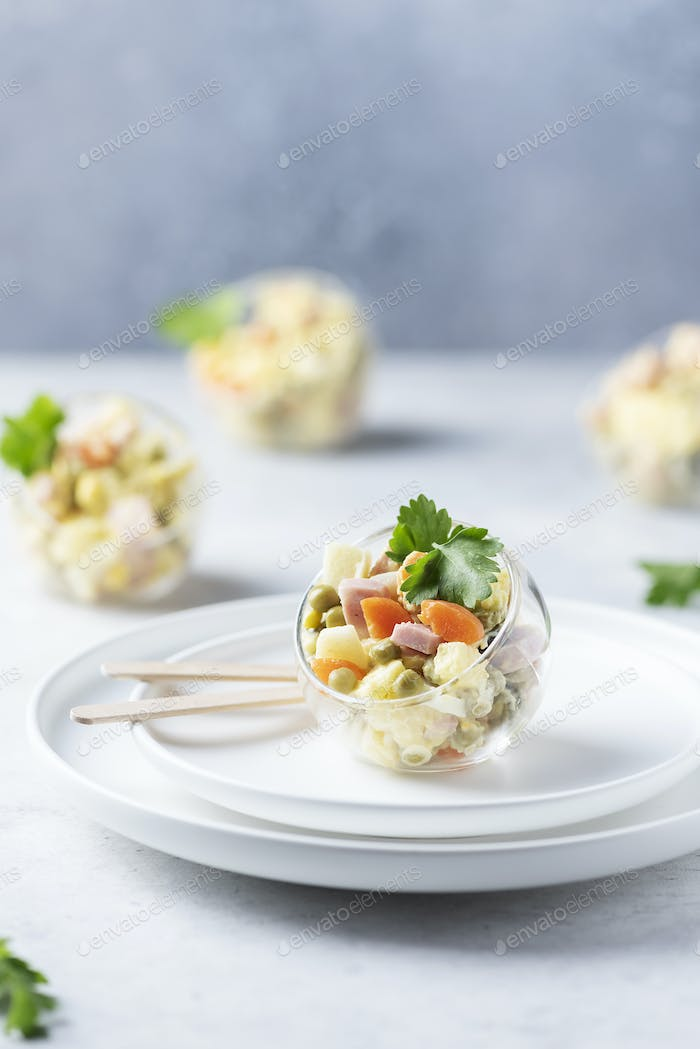 Traditional Russian salad Olivier