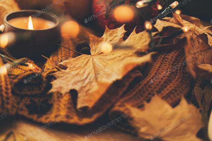 Autumn hygge. Cozy moody image of autumn leaves