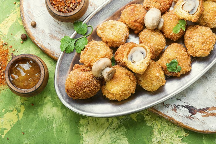 Champignon mushrooms deep-fried