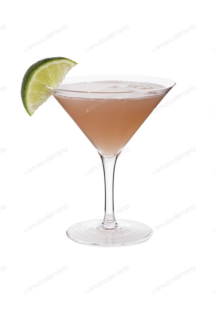Refreshing Vodka Cosmopolitan Martini Cocktail on White
