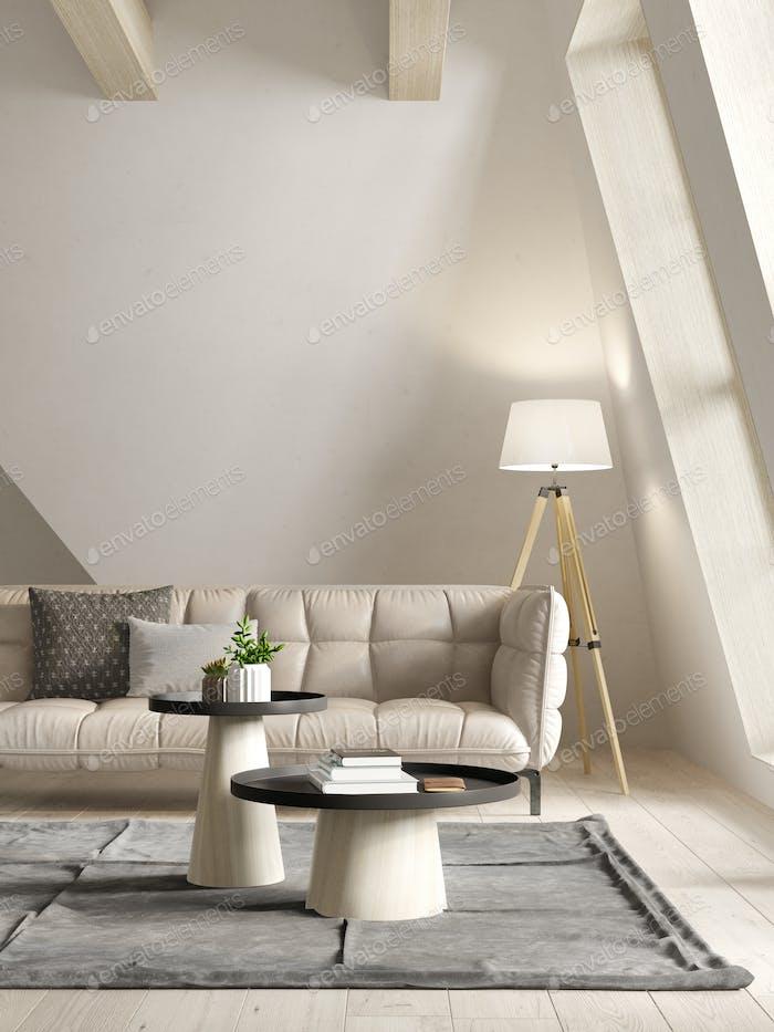Interior de la sala de estar Moderno con sofá 3D renderizado