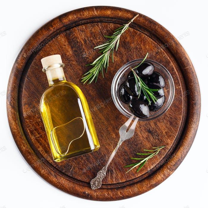 Greek oil and olives concept