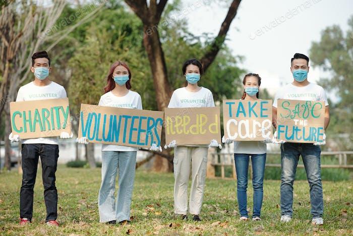 Volunteers of charity organization