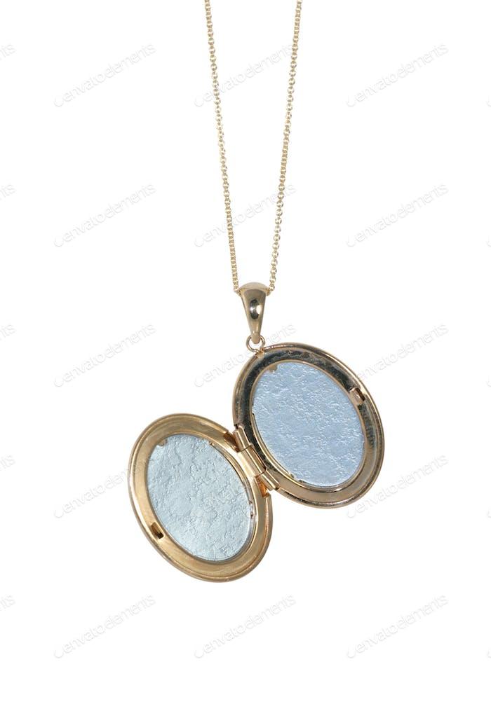 Vintage locket necklace open on white background
