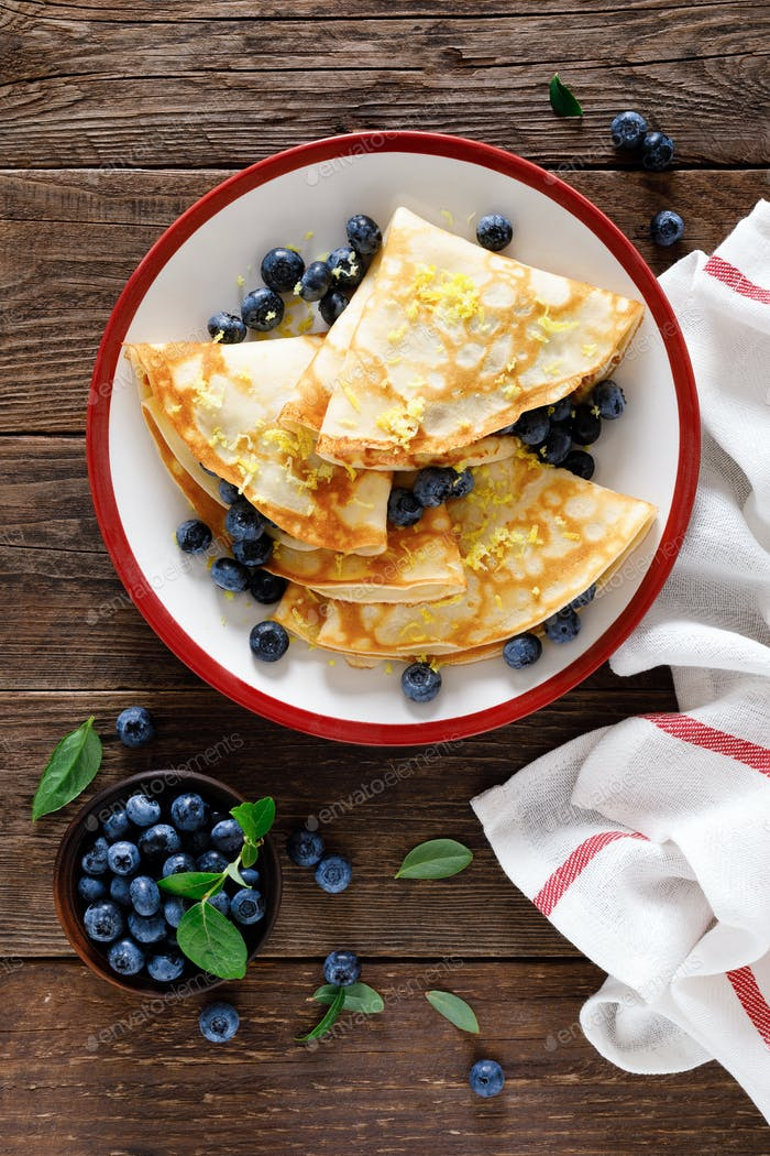 Sweet crepes filled with fresh blueberry
