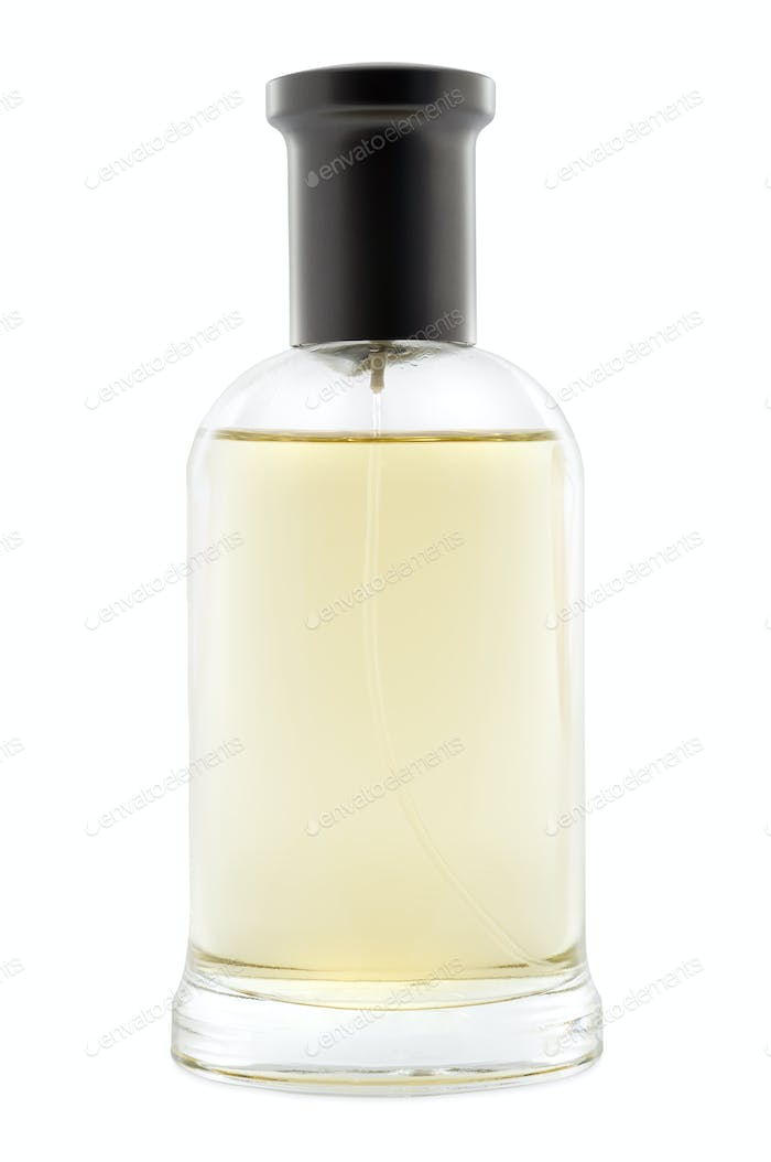 Full bottle of perfume on white background