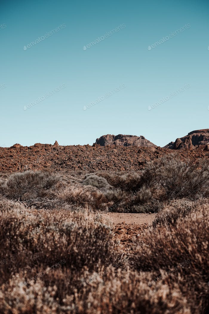 desertic landscape in Teide mountain, Tenerife, Spain