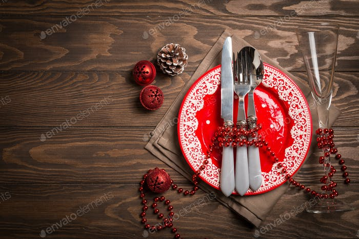 Christmas empty plate and silverware