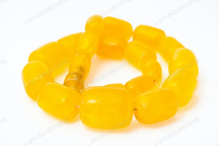 vintage coiled necklace from yellow melted amber