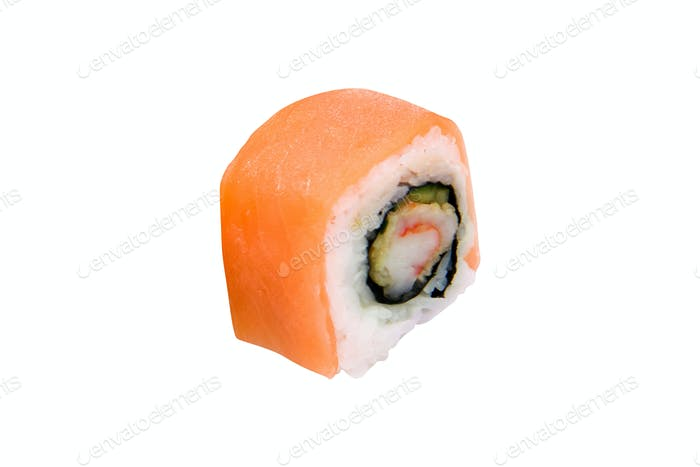 traditional sushi roll isolated on white background