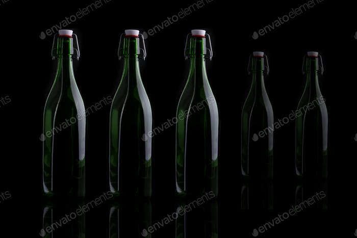 wine bottle on black