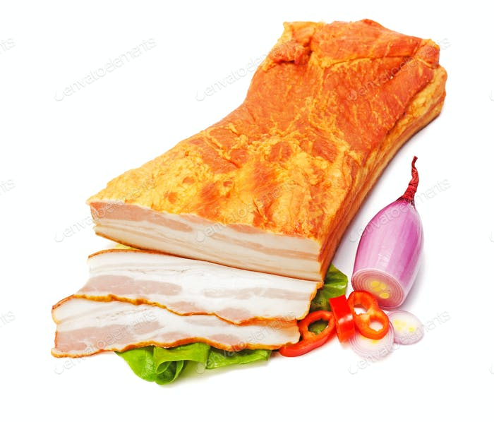 Big piece of boiled bacon and slices
