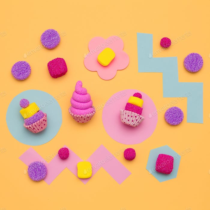 Set of sweets. Candy mood. Minimal Flatlay art