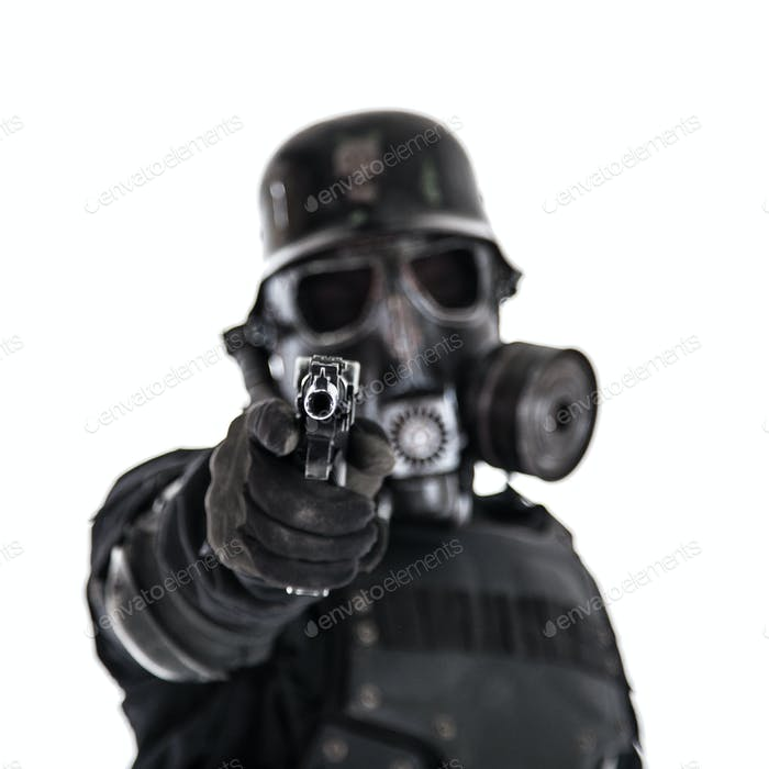 Futuristic nazi soldier shoot you are doomed