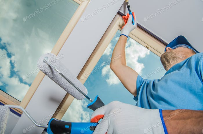 Caucasian Room Painter