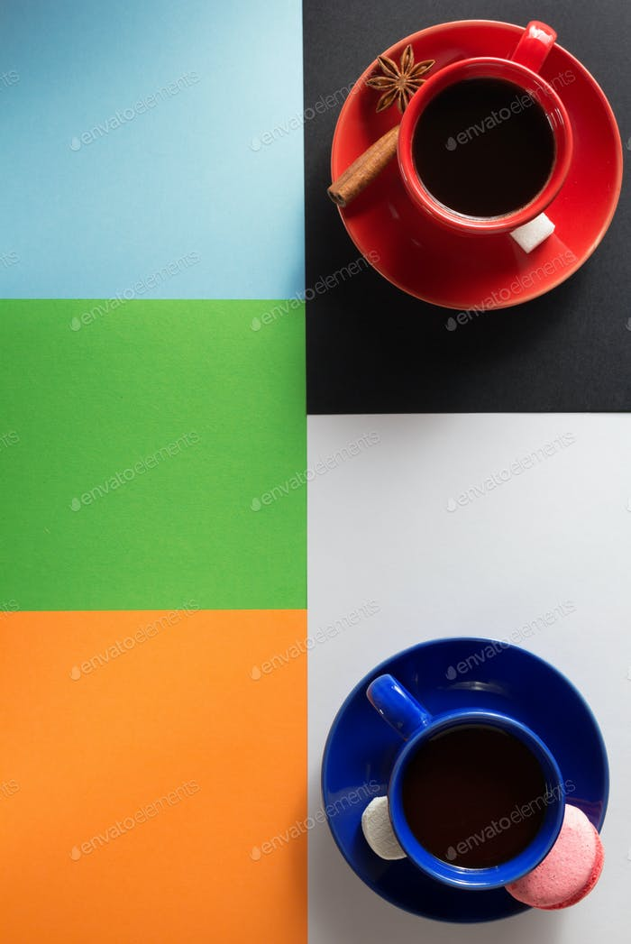 cup of coffee and cacao  at abstract colorful
