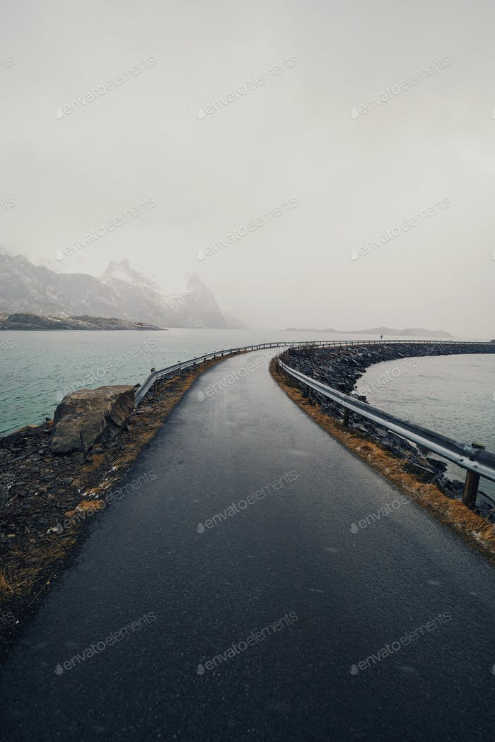 Road across a fjord