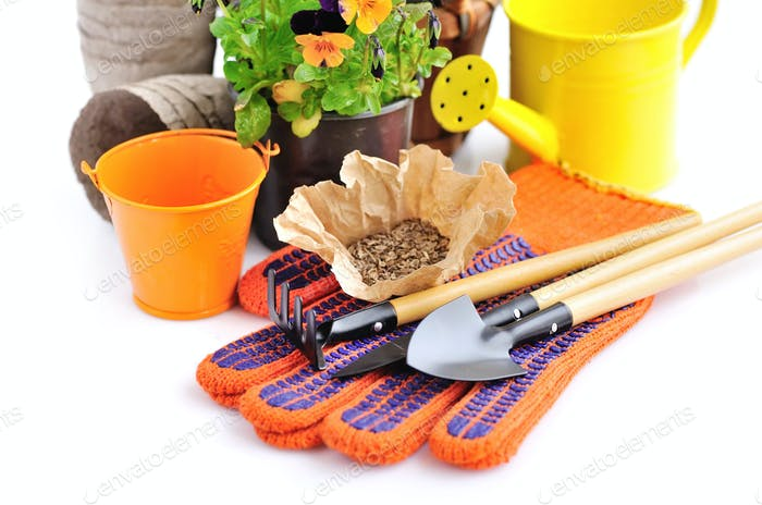 Gardening tools and seed and spring flowers on a white backgroun