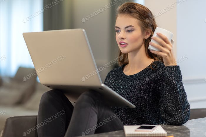 Attractive  woman with computer at home.
