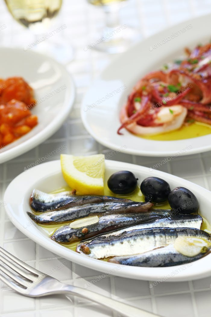 marinated anchovies, spanish tapas food