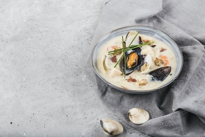 Clam chowder in a gray plate