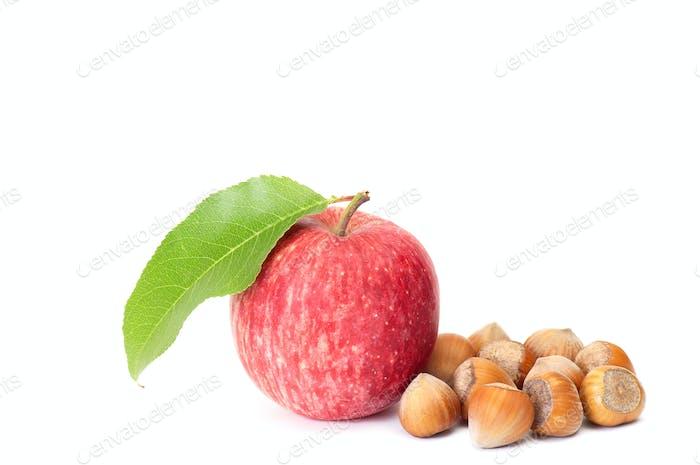 Tasty hazelnuts and fresh apple on a white.