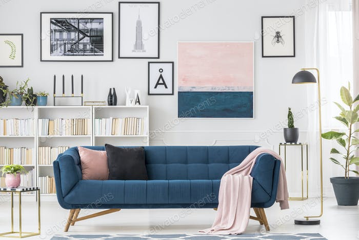 Blue settee and pink blanket